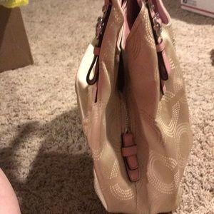 Coach Bags - Coach tan and pink bag